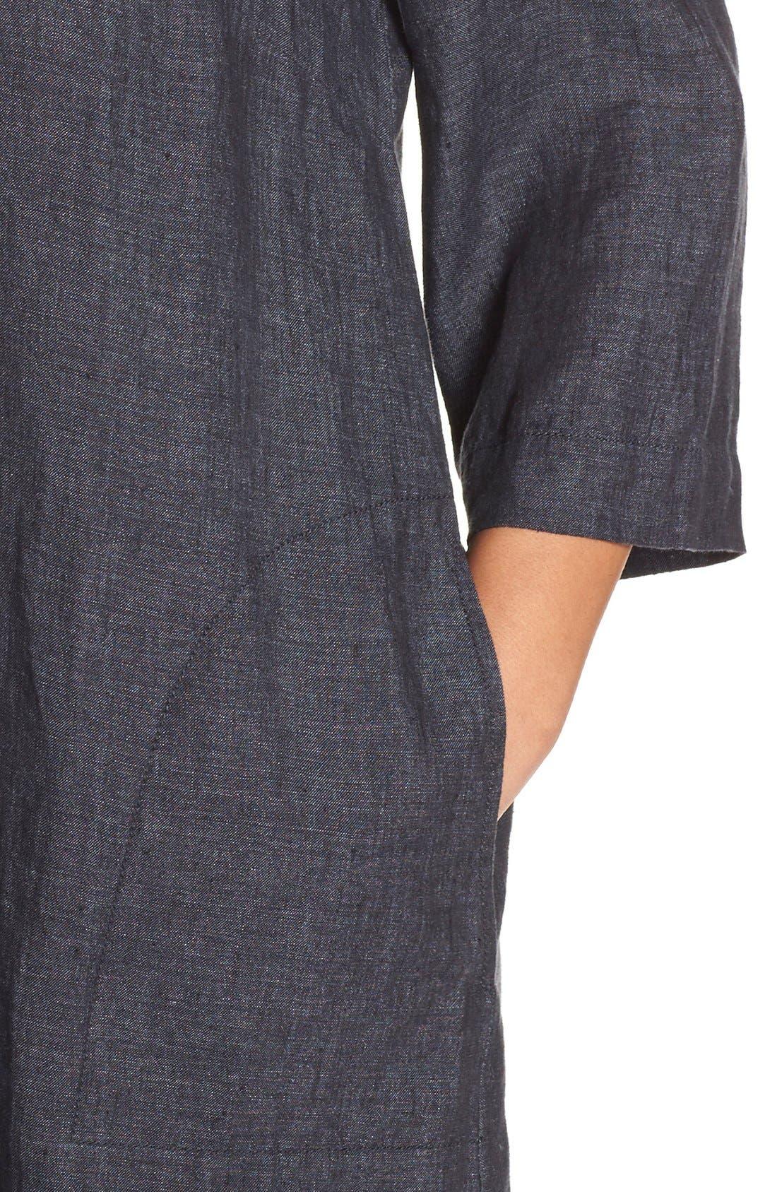 Alternate Image 5  - Eileen Fisher Organic Linen Bateau Neck Shift Dress (Plus Size)