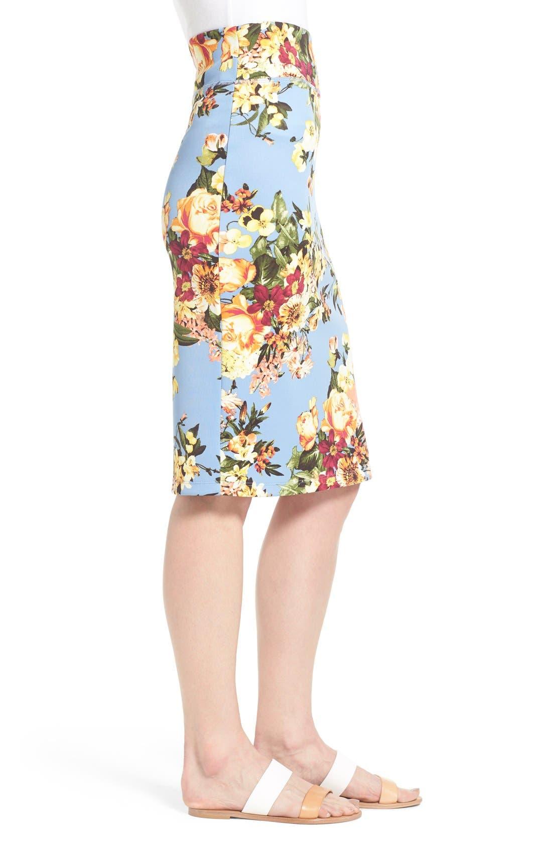 Alternate Image 3  - Bobeau Floral Print Pencil Skirt (Regular & Petite)