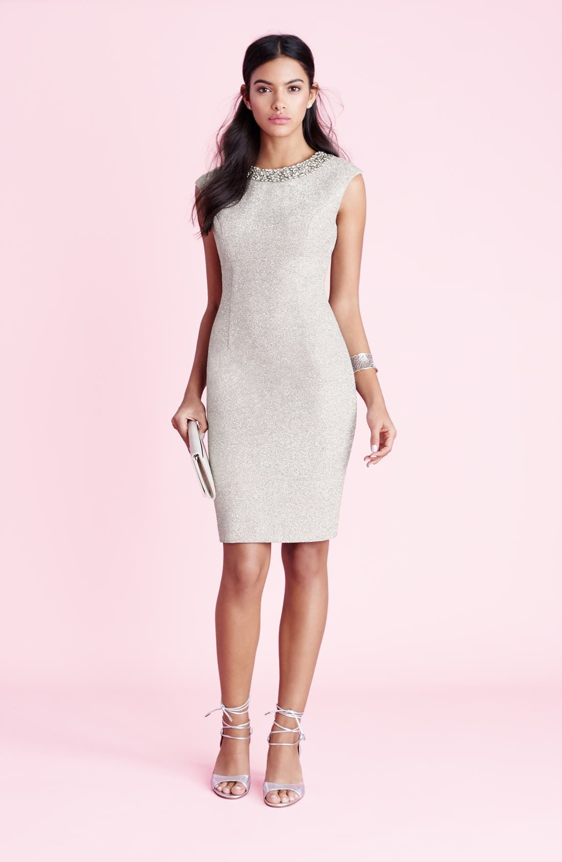 Alternate Image 7  - Eliza J Embellished Sparkle Knit Sheath Dress (Regular & Petite)