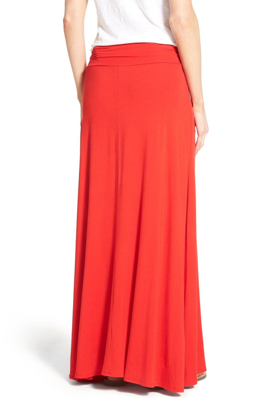Alternate Image 2  - Bobeau Ruched Waist Side Slit Maxi Skirt (Regular & Petite)