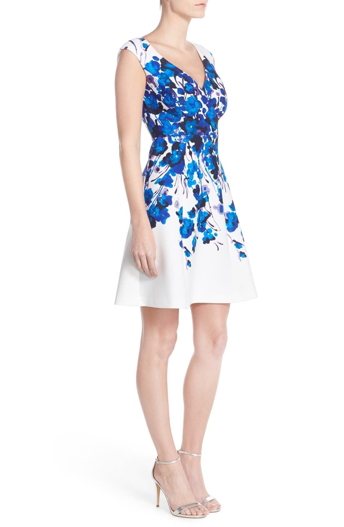 Alternate Image 3  - Adrianna Papell Placed Print Stretch Fit & Flare Dress