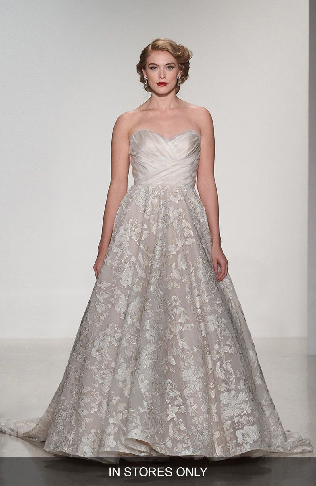 Matthew Christopher 'Shelby' Strapless Organza & Lace Ballgown (In Stores Only)