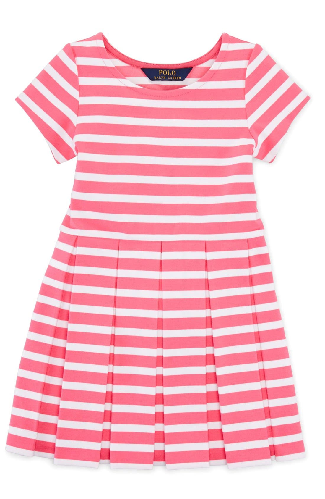 Alternate Image 1 Selected - Ralph Lauren Stripe Ponte Knit Pleated Dress (Toddler Girls & Little Girls)