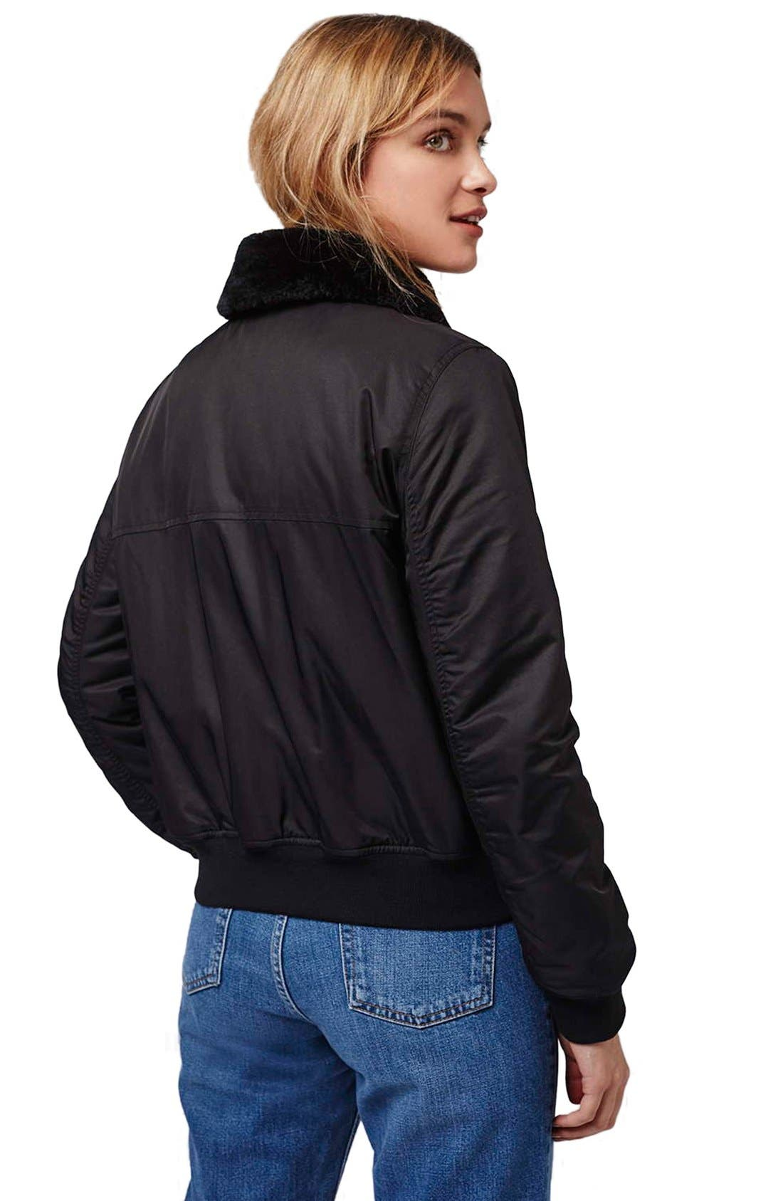 Alternate Image 3  - Topshop 'MA1' Bomber Jacket with Faux Fur Collar (Petite)