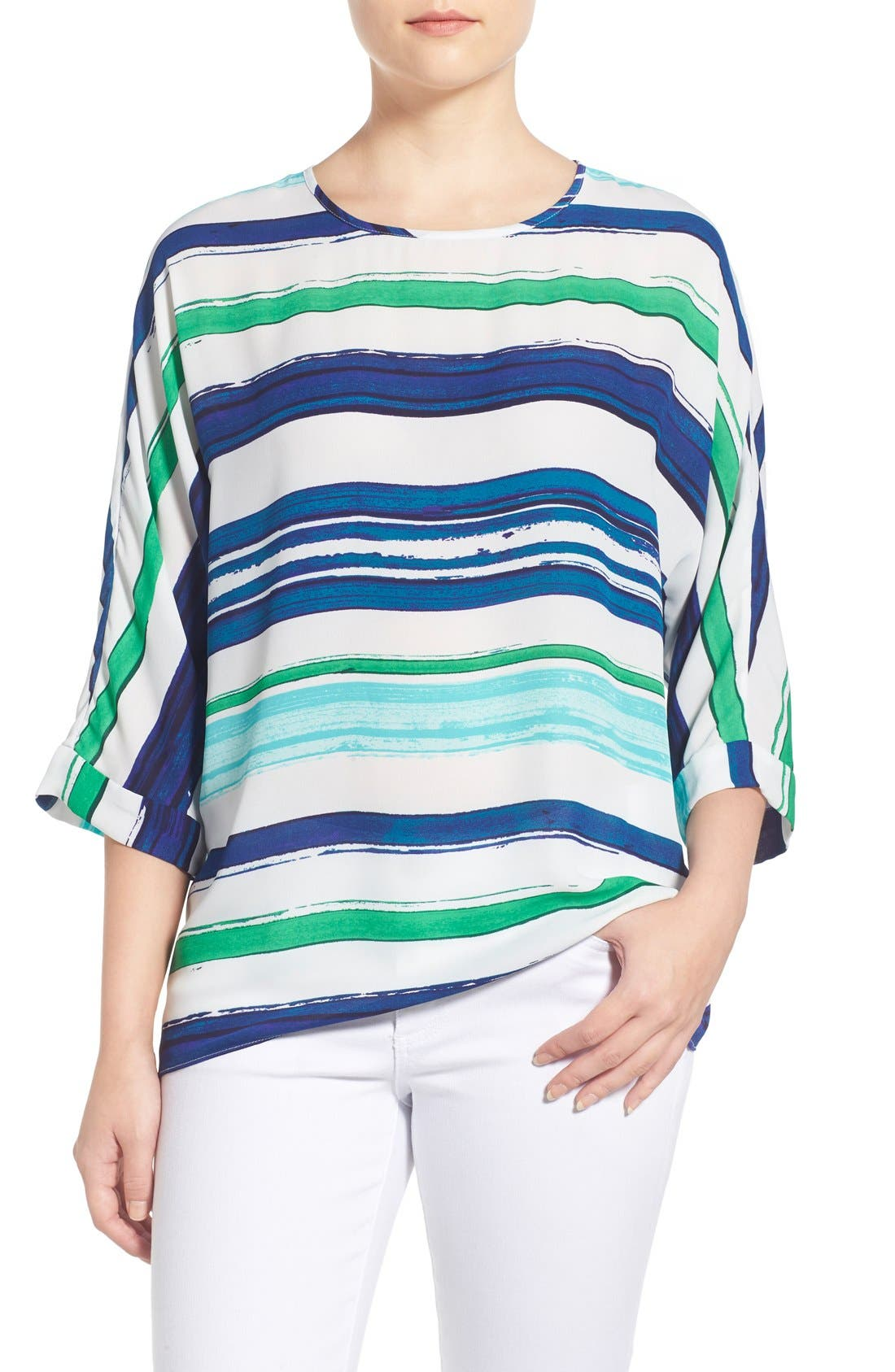 Alternate Image 1 Selected - Chaus Stripe High/Low Blouse