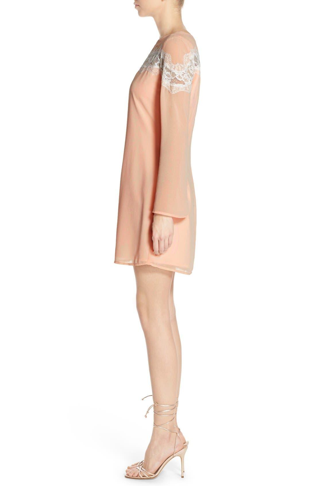 Alternate Image 3  - Chelsea28 Lace Trim Chiffon Shift Dress