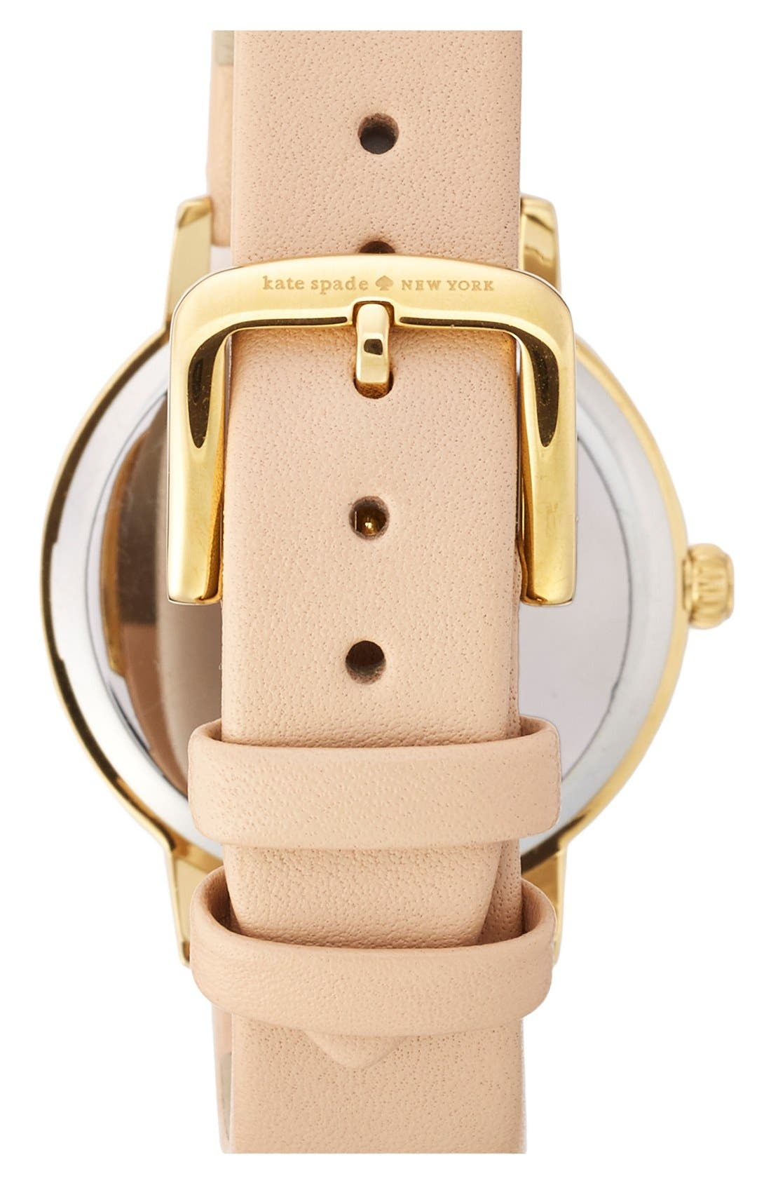 Alternate Image 2  - kate spade new york 'metro - chalkboard' leather strap watch, 34mm