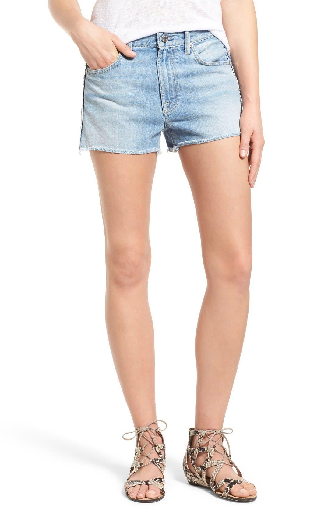 Main Image - 7 For All Mankind® High Rise Cutoff Denim Shorts (Vintage Coronado Springs)