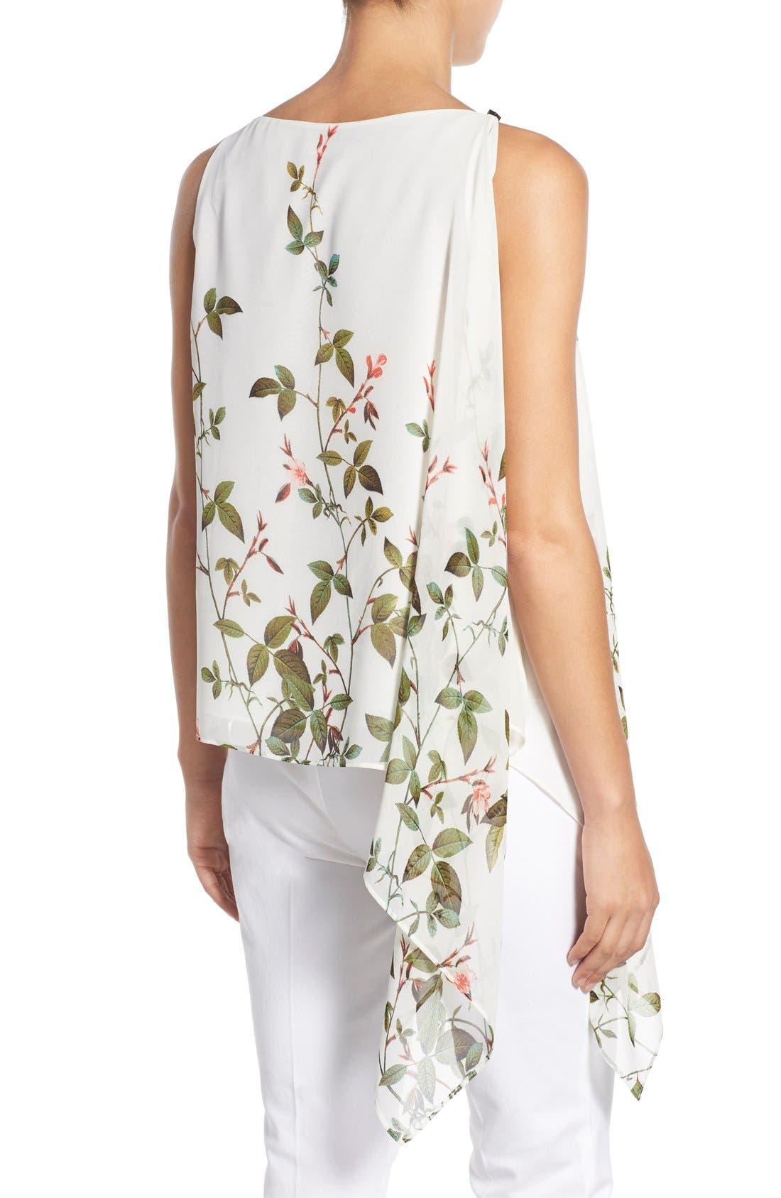 Alternate Image 2  - Adrianna Papell Floral Print Asymmetrical Chiffon Blouse