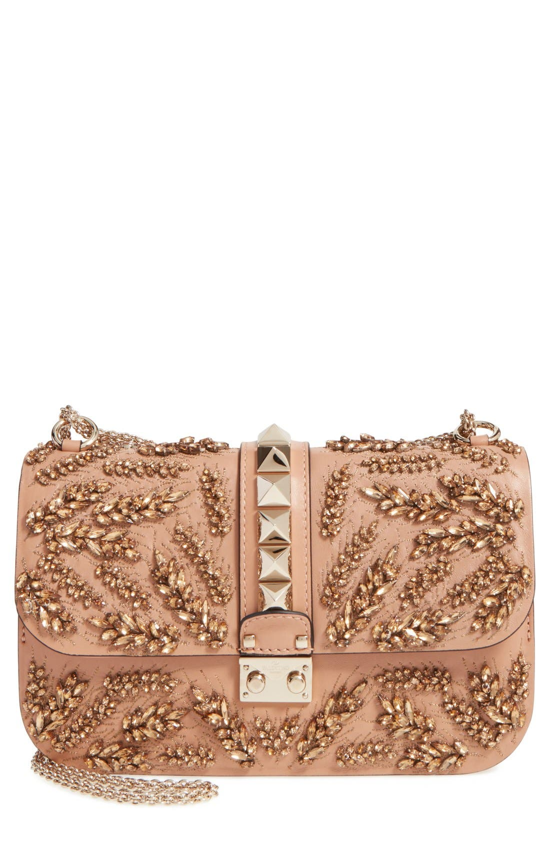 Main Image - Valentino 'Rockstud Embellished - Medium Lock' Leather Shoulder Bag