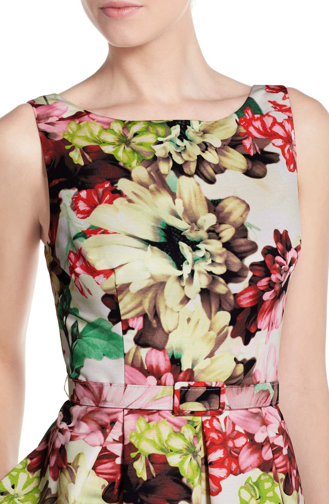 Alternate Image 5  - Eliza J Belted Floral Print Faille Fit & Flare Dress