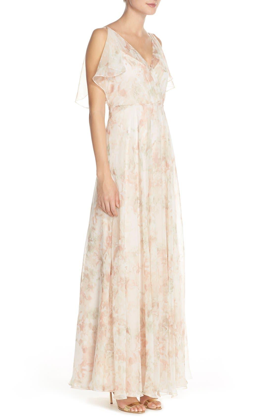 Alternate Image 3  - Jenny Yoo 'Cassie' Print Flutter Sleeve Chiffon Maxi Dress