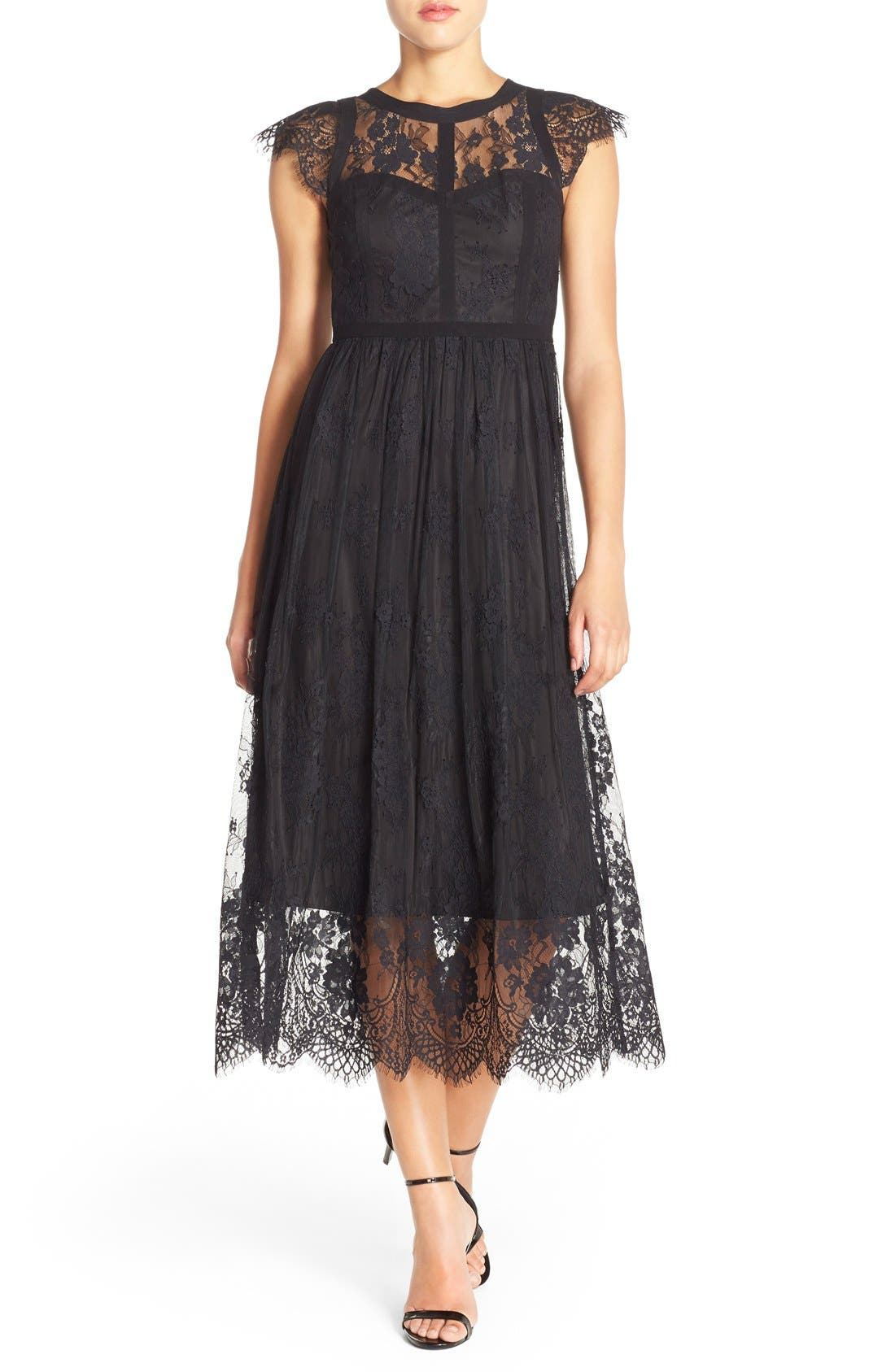 Alternate Image 1 Selected - Parker 'Tesoro' Lace Fit & Flare Midi Dress