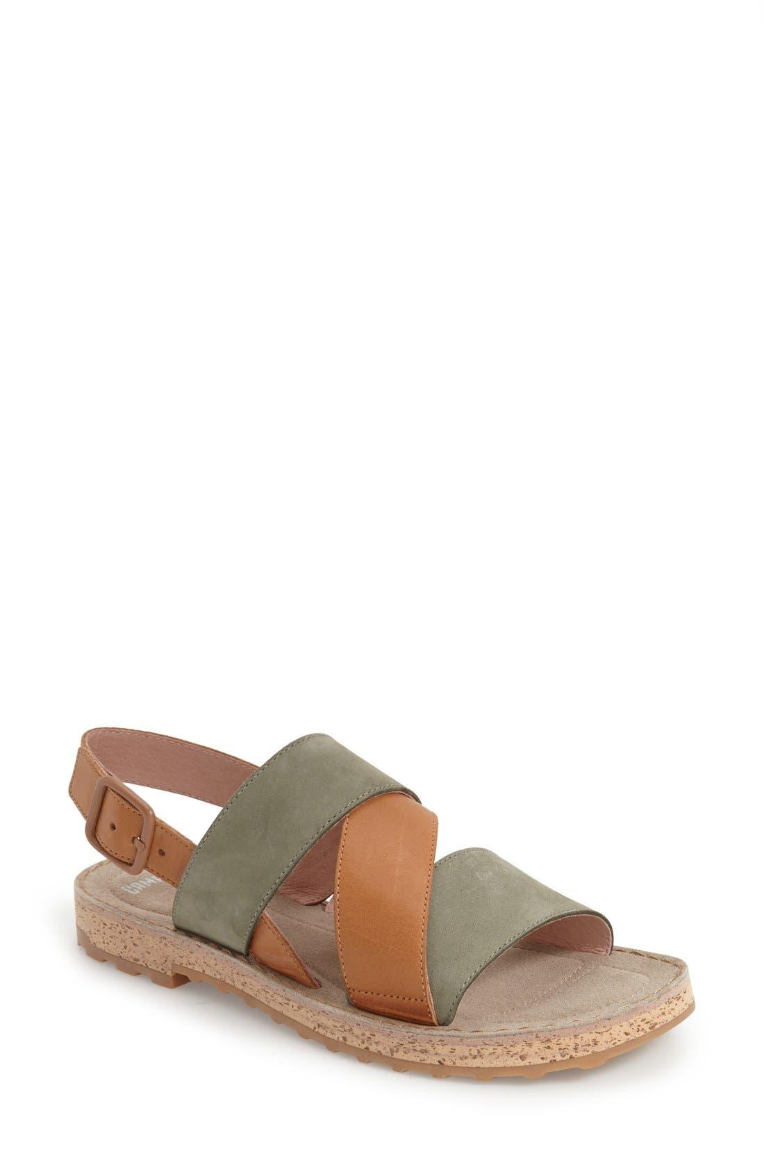Alternate Image 1 Selected - Camper 'Pimpom' Leather & Suede Crisscross Strap Sandal (Women)