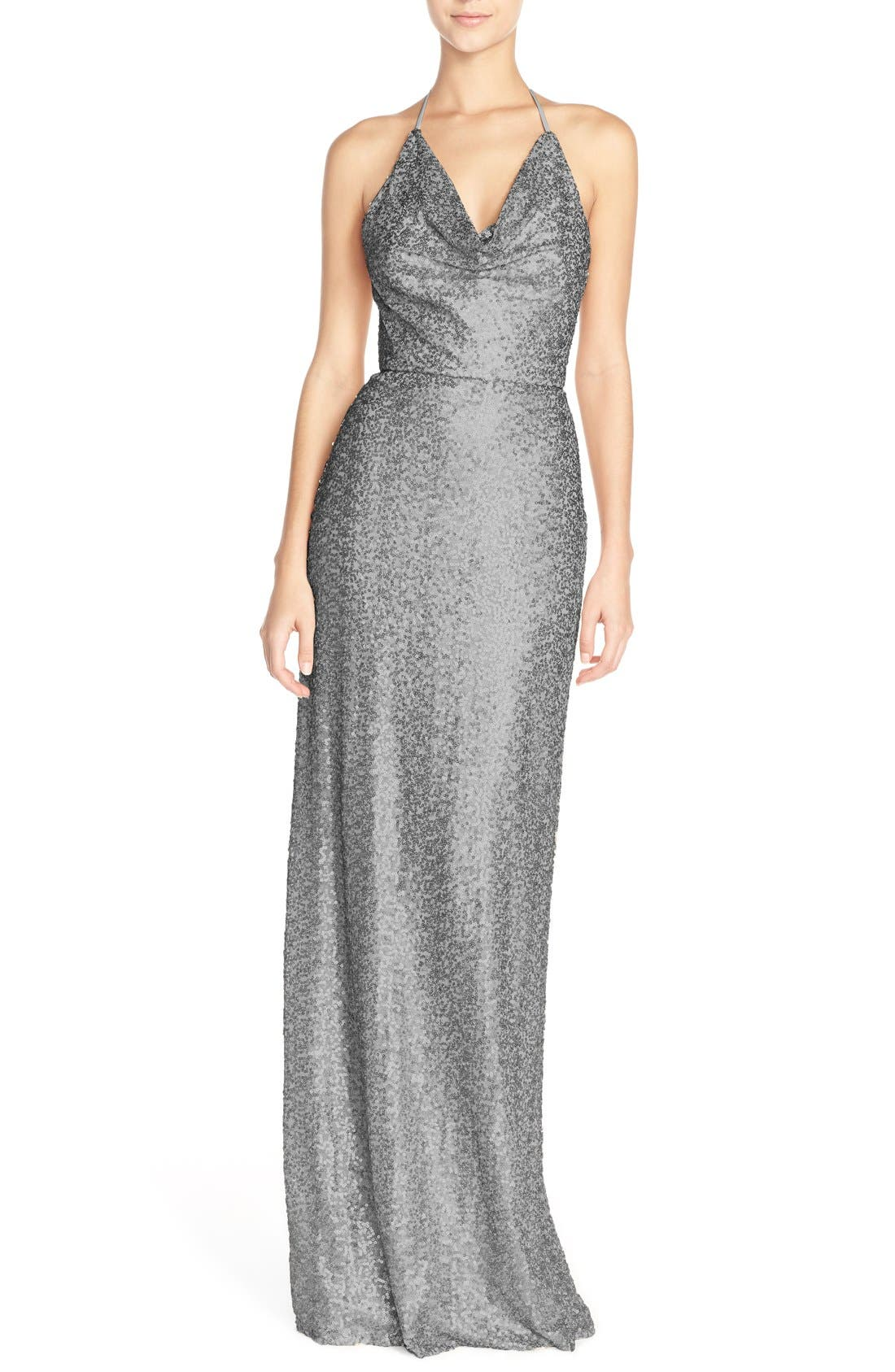Alternate Image 1 Selected - Amsale 'Honora' Draped Sequin Tulle Halter Gown