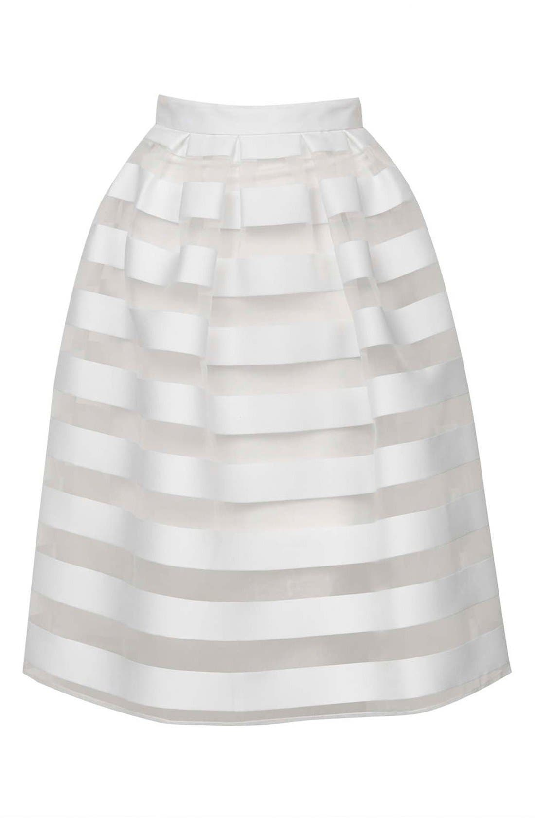 Alternate Image 4  - Topshop 'Glass' Sheer Stripe Pleat Midi Skirt