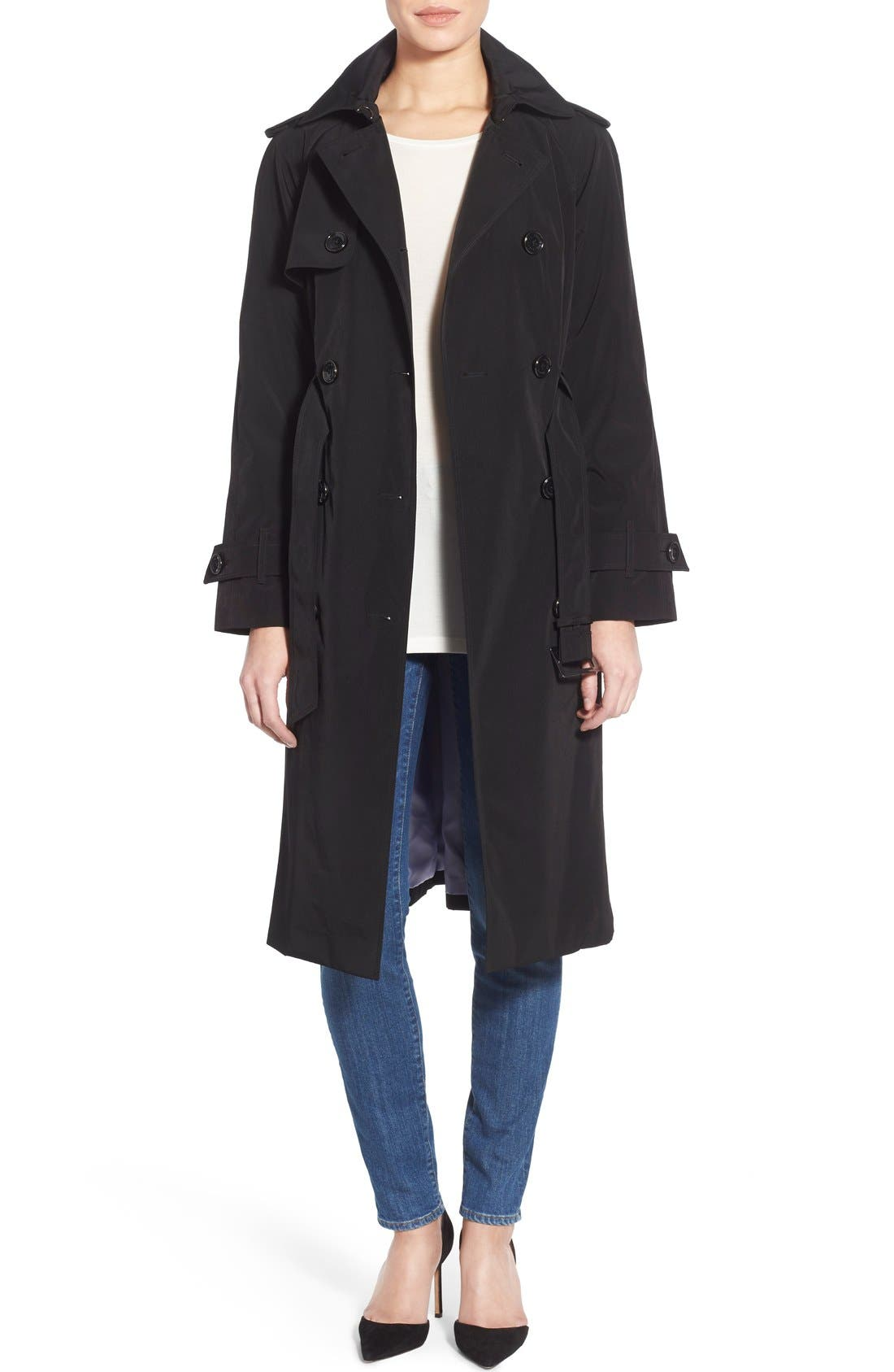 London Fog Double Breasted Trench Coat (Regular & Petite)