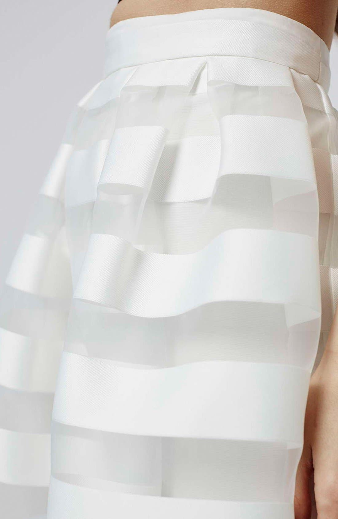 Alternate Image 5  - Topshop 'Glass' Sheer Stripe Pleat Midi Skirt