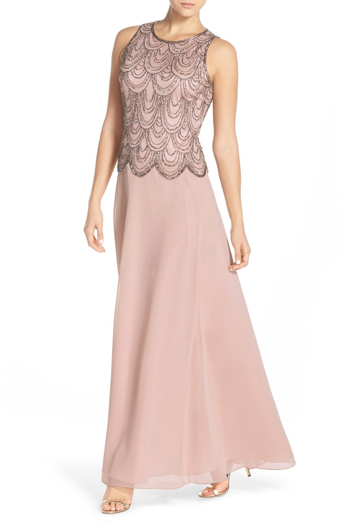 Main Image - J Kara Scallop Embellished Popover Chiffon Gown