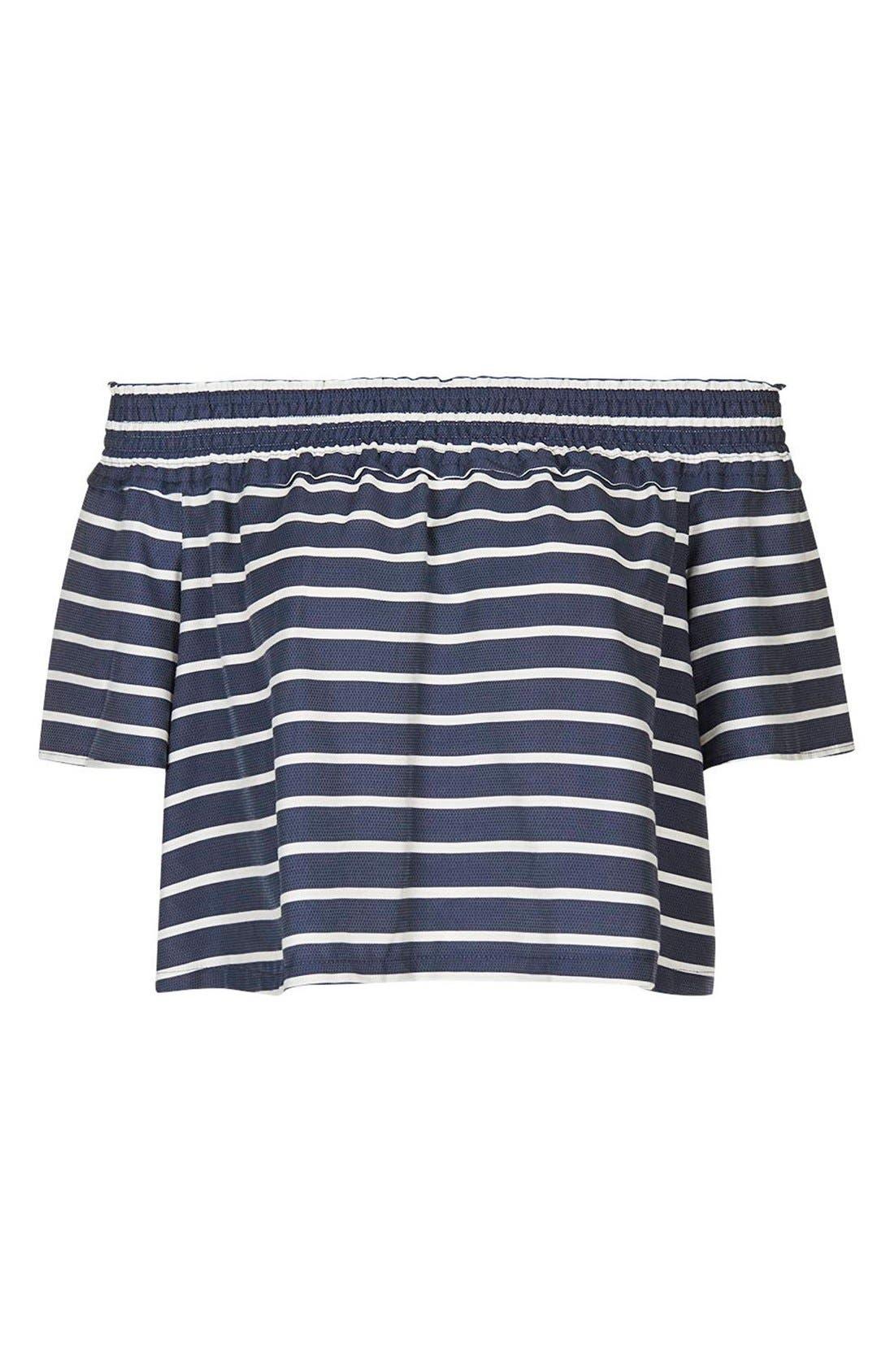 Alternate Image 5  - Topshop 'Bardot' Stripe Smock Off the Shoulder Top