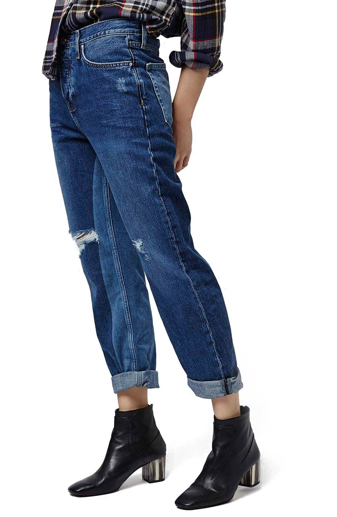 Main Image - Topshop 'Patch' Two Tone High Rise Boyfriend Jeans