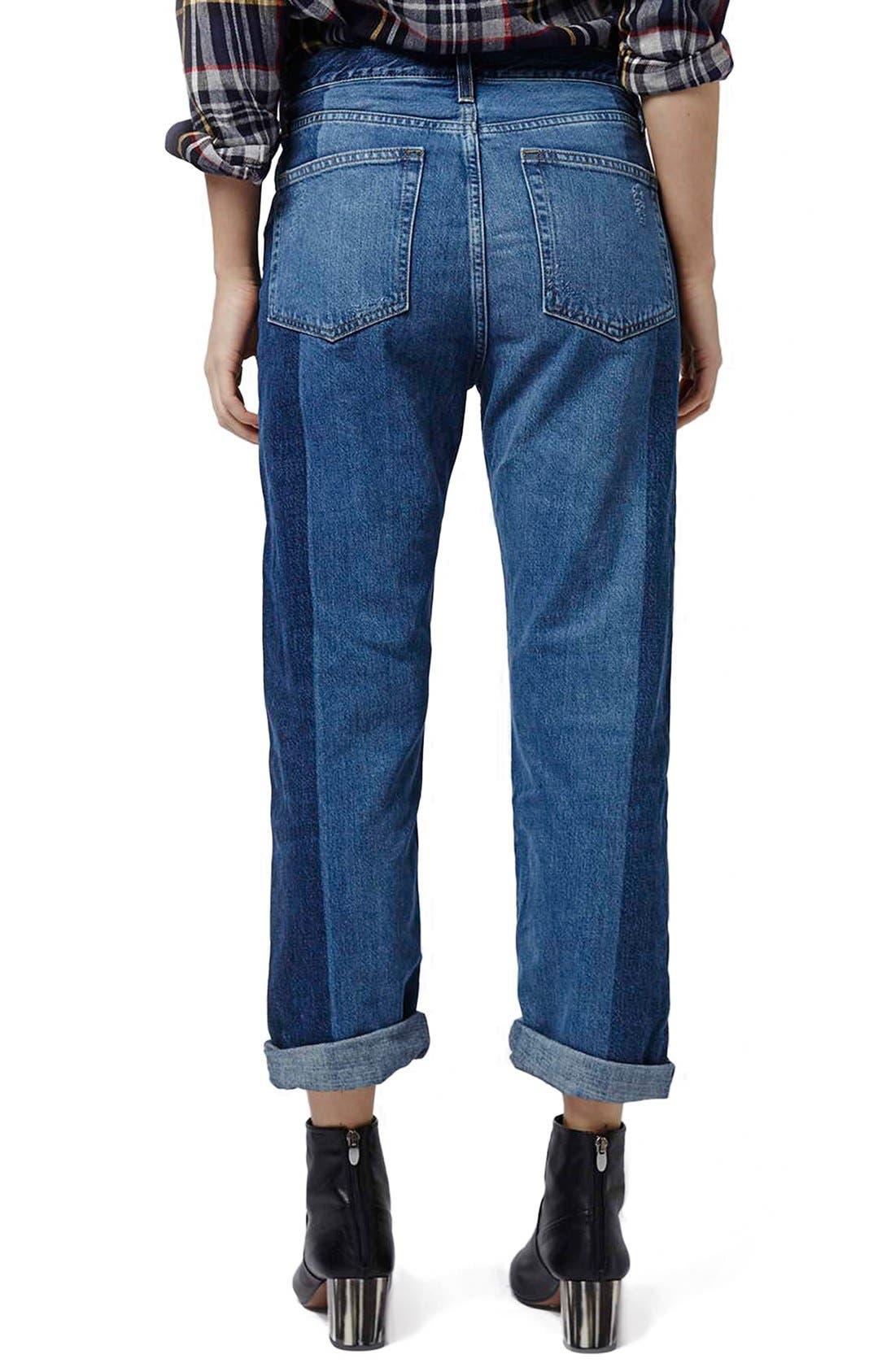 Alternate Image 3  - Topshop 'Patch' Two Tone High Rise Boyfriend Jeans