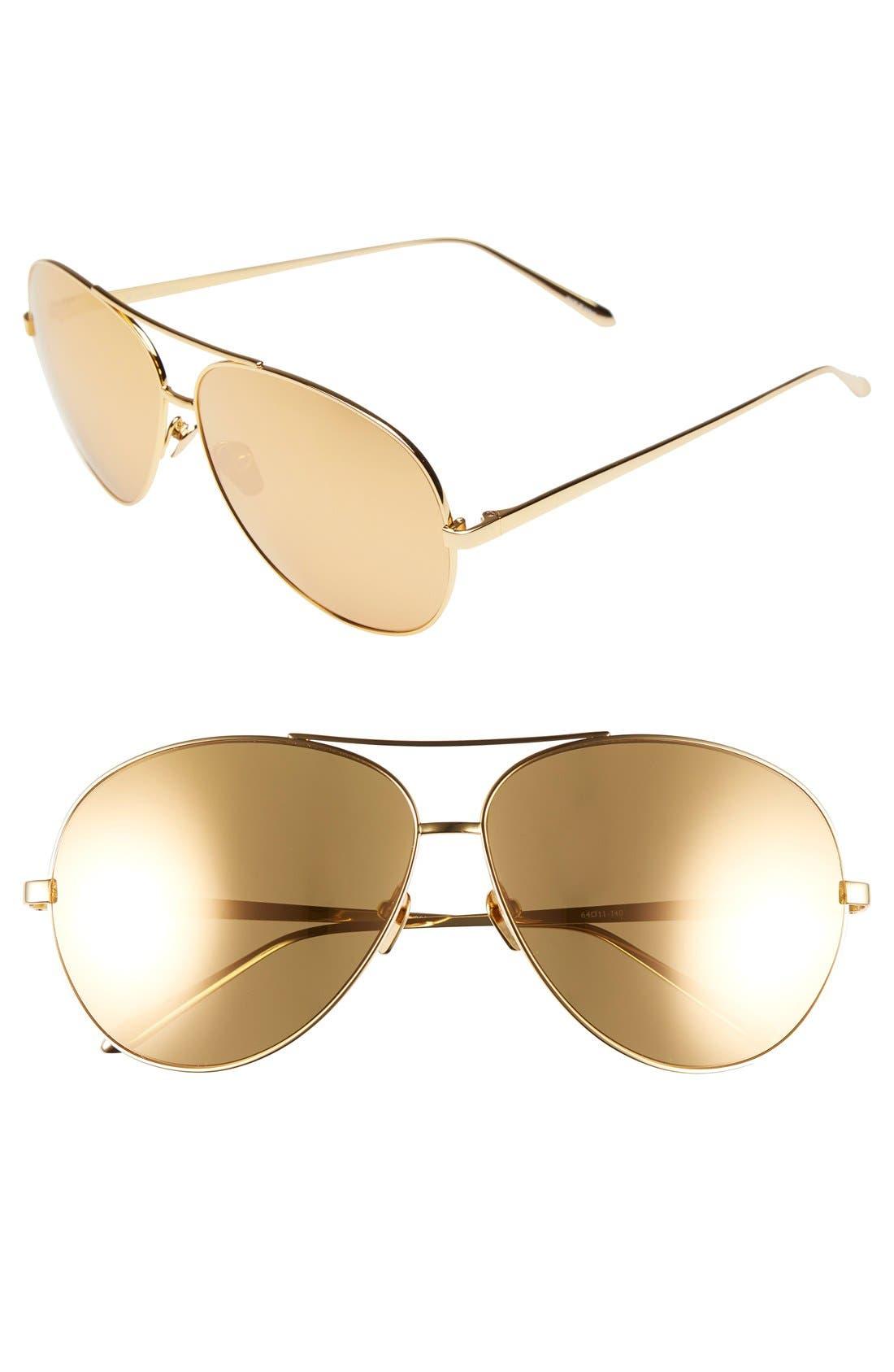 Main Image - Linda Farrow 64mm 22 Karat Gold Plated Aviator Sunglasses