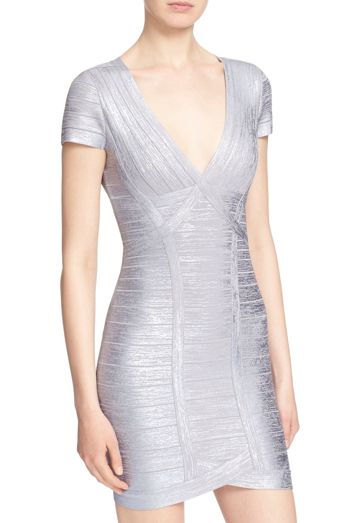 Alternate Image 6  - Herve Leger 'Klaudia' Woodgrain Metallic Foil Dress