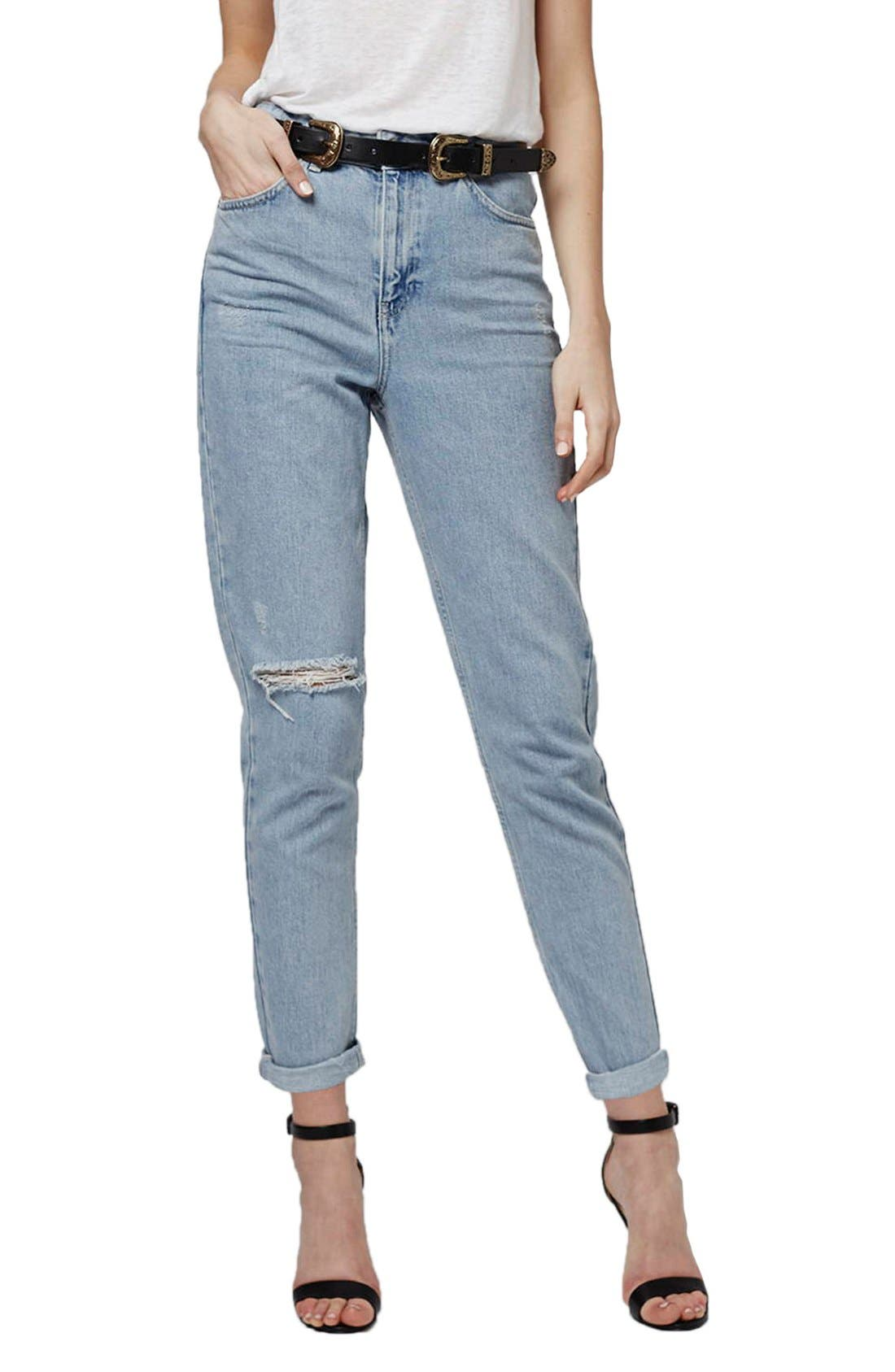 Alternate Image 1 Selected - Topshop High Rise Ripped Mom Jeans (Regular & Petite)