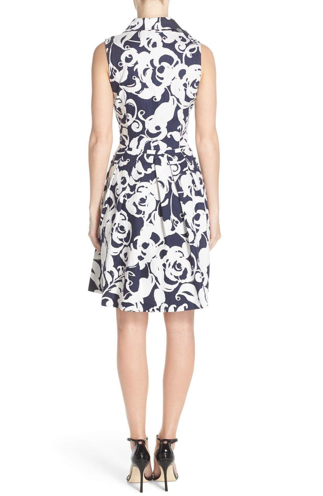 Alternate Image 2  - Taylor Dresses Print Jacquard Fit & Flare Shirtdress