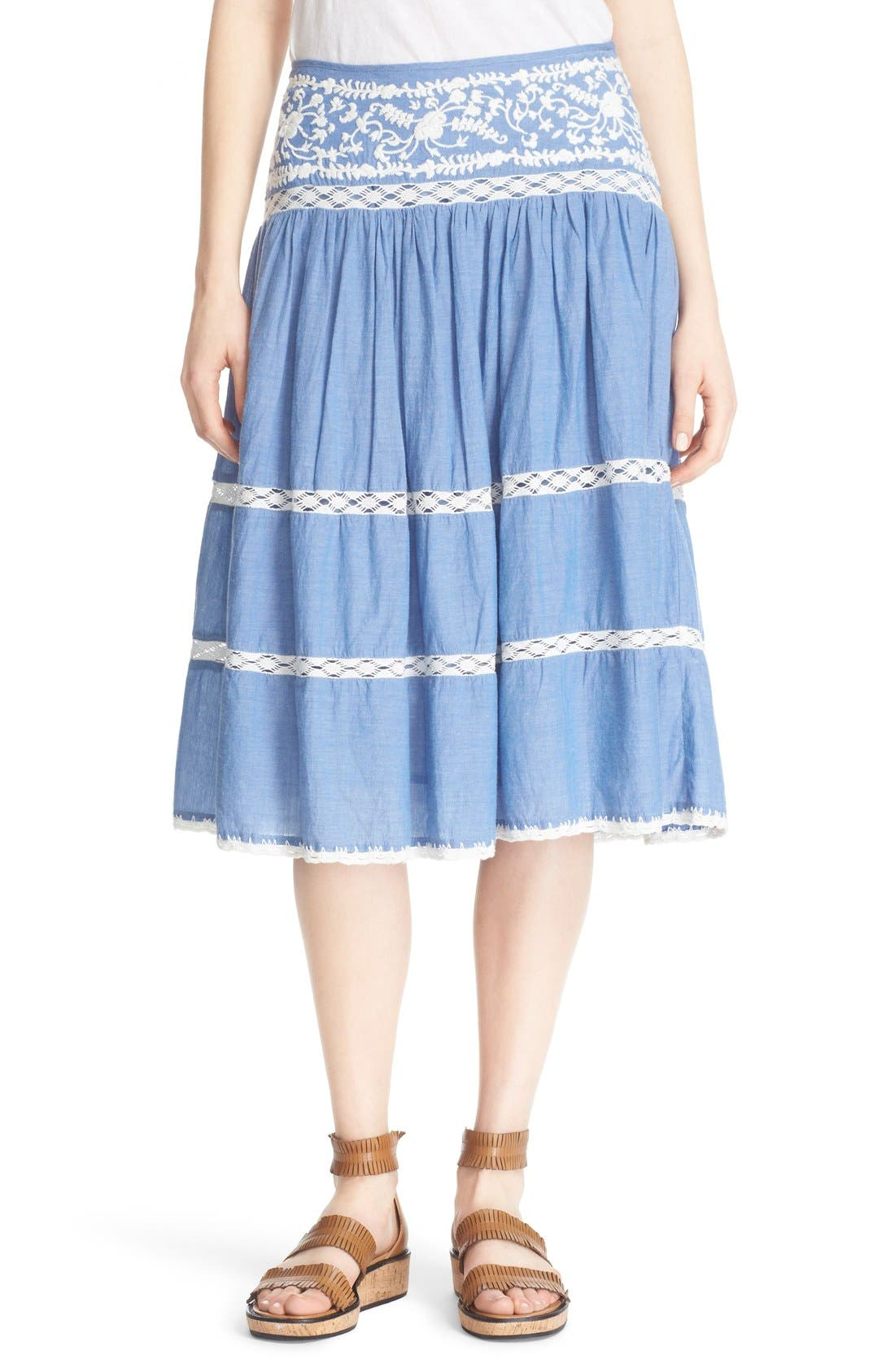 Alternate Image 1 Selected - Joie Embroidered Chambray Skirt