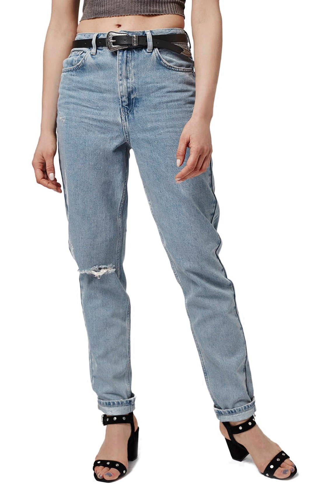 Main Image - Topshop Ripped High Rise Mom Jeans (Tall)