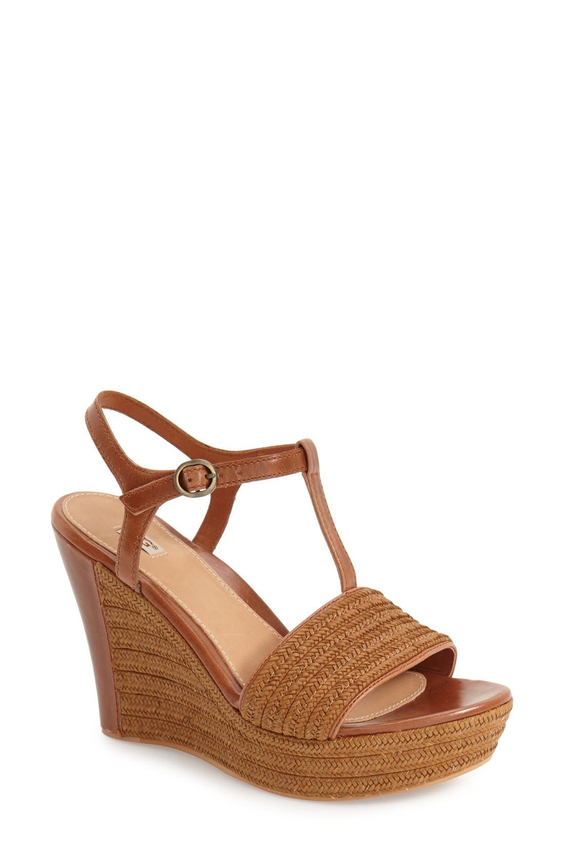 Alternate Image 1 Selected - UGG® 'Fitchie' T-Strap Wedge Sandal (Women)