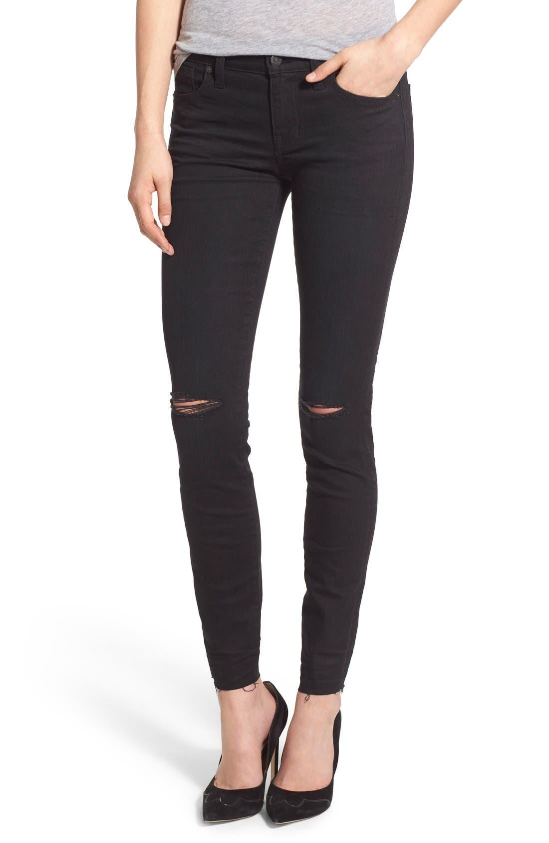Alternate Image 1 Selected - Madewell 'Skinny Skinny' Knee Rip Jeans (Trent Wash) (Long)