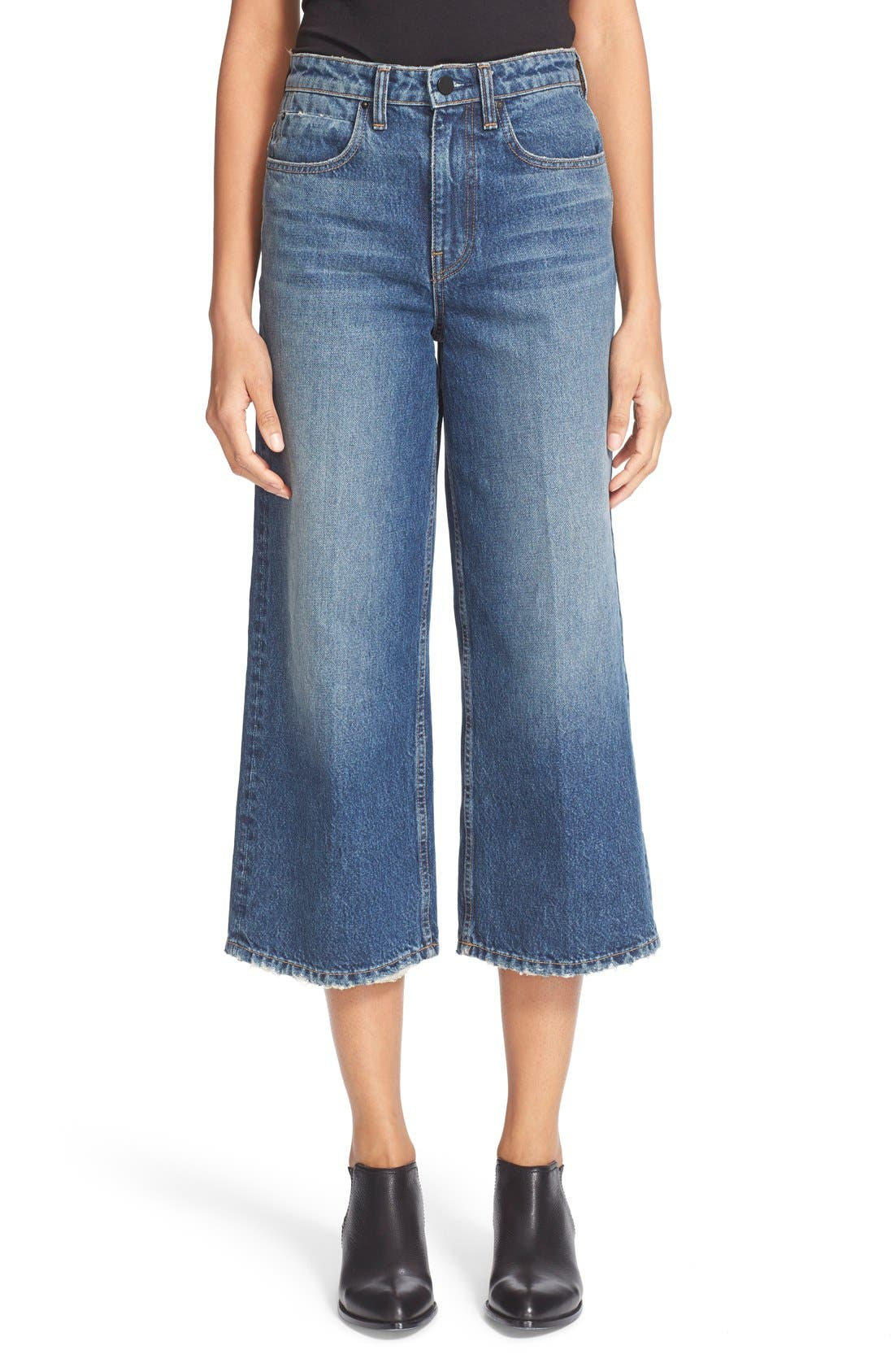 Alternate Image 1 Selected - T by Alexander Wang Drill High Rise Wide Leg Crop Jeans