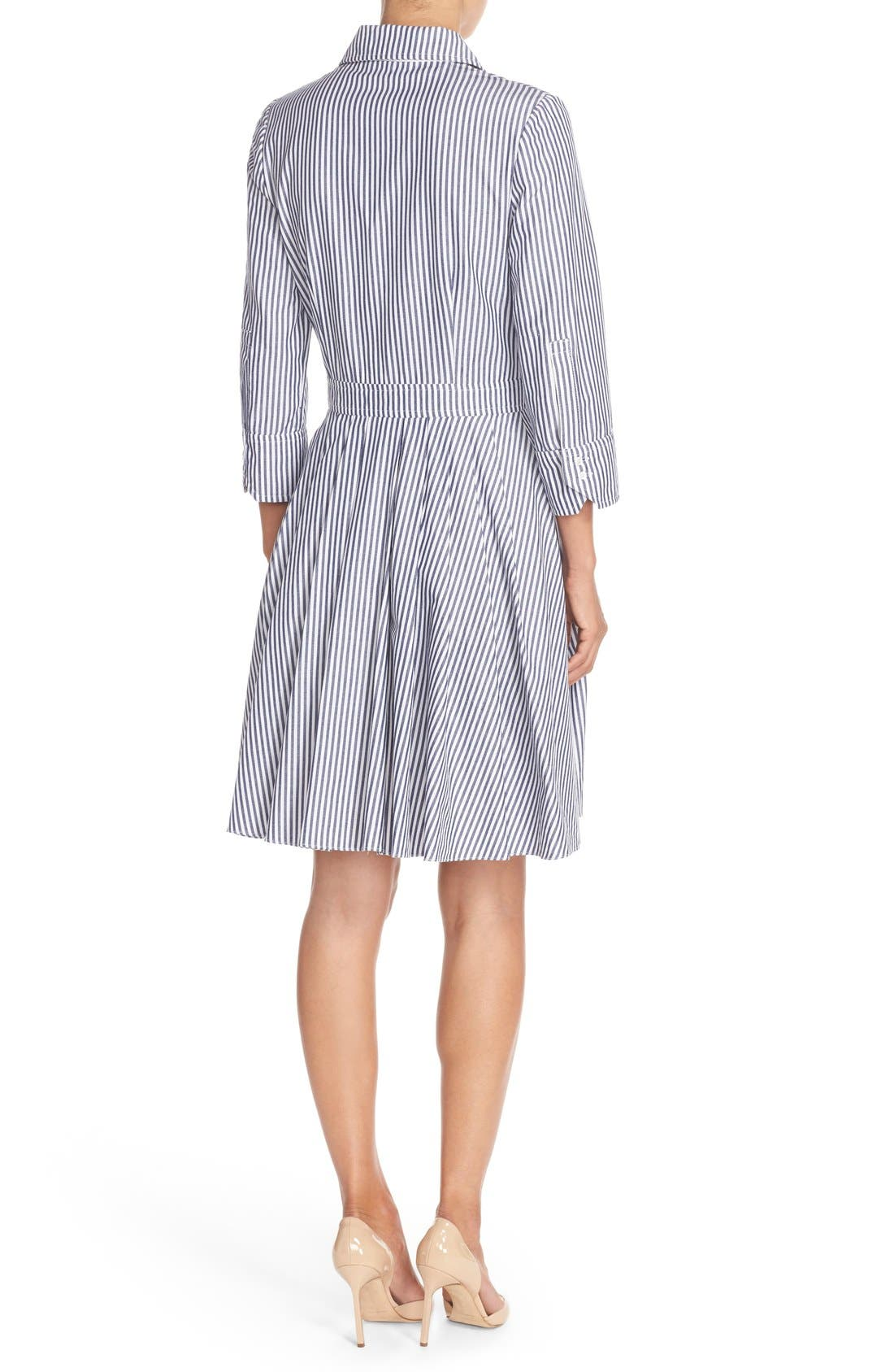 Alternate Image 2  - Eliza J Stripe Cotton Shirtdress (Regular & Petite)