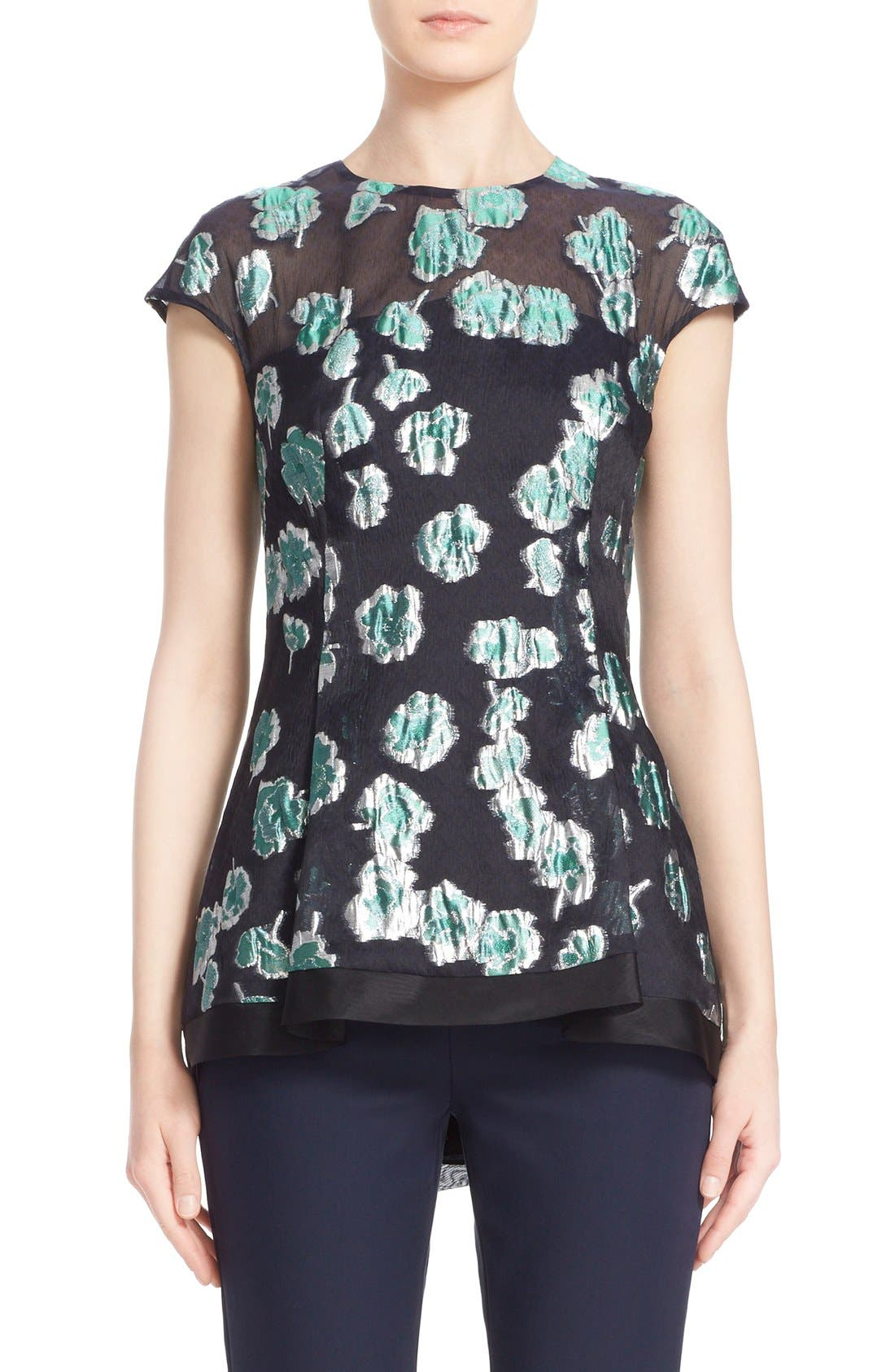 Alternate Image 1  - Lela Rose Illusion Yoke Floral Fil Coupé Blouse