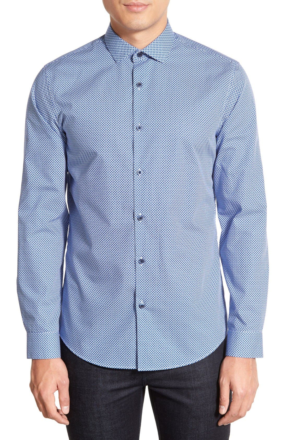 CALIBRATE Slim Fit Dot Print Sport Shirt