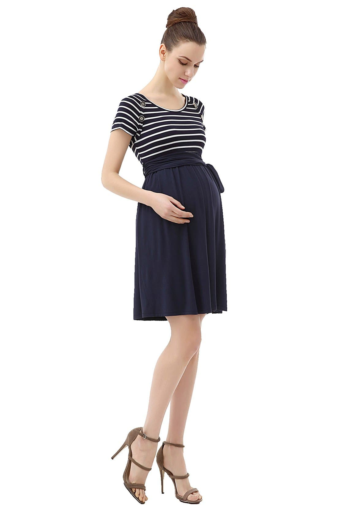 Alternate Image 3  - Kimi and Kai 'Taylor' Skater Maternity Dress