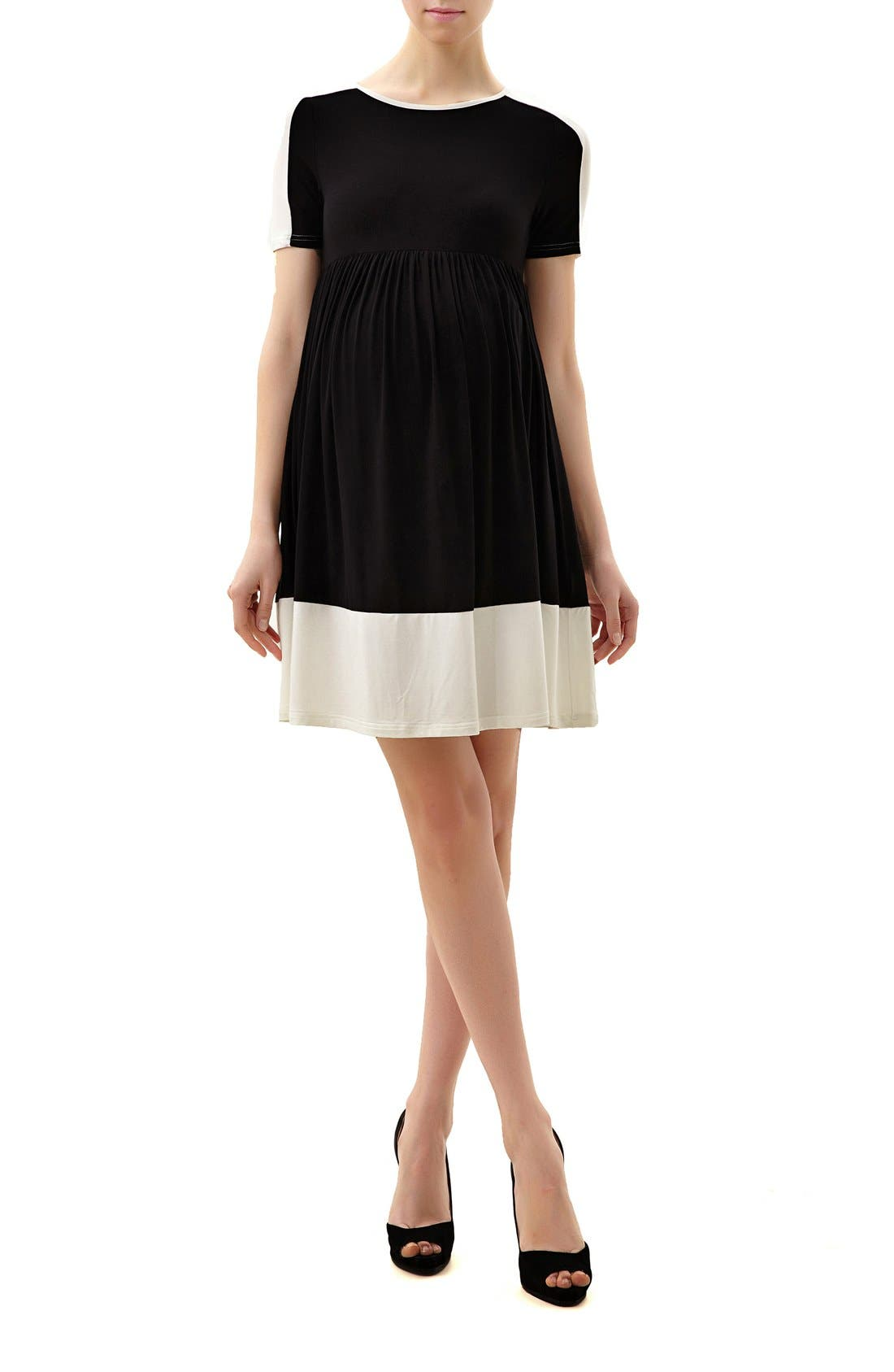 Kimi and Kai 'Amelia' Colorblock Maternity Skater Dress