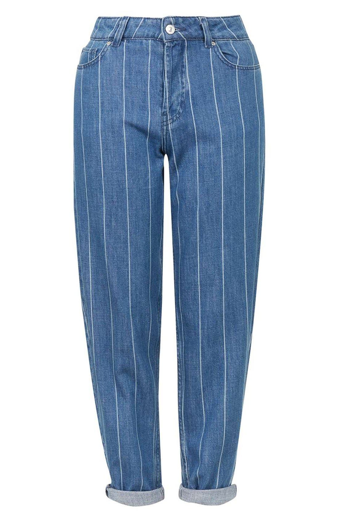 Alternate Image 4  - Topshop Stripe High Rise Boyfriend Jeans