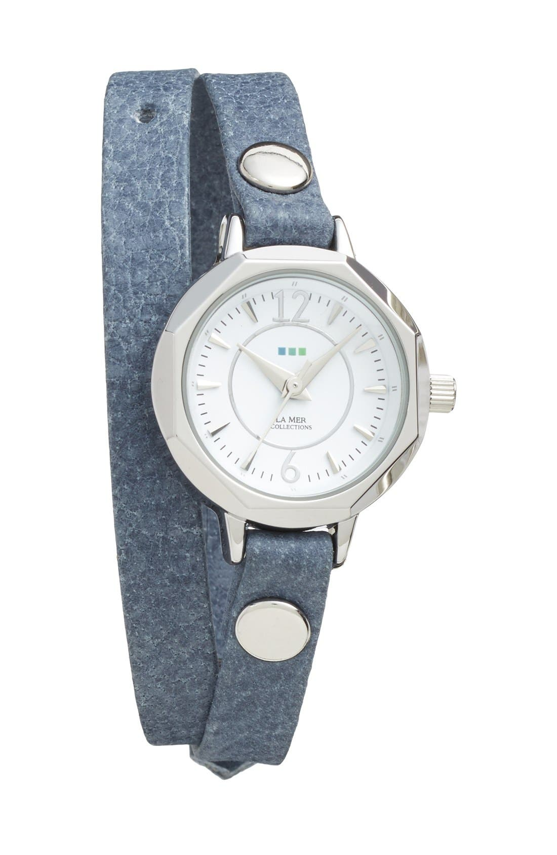 Main Image - La Mer Collections 'Del Mar' Leather Strap Wrap Watch, 25mm