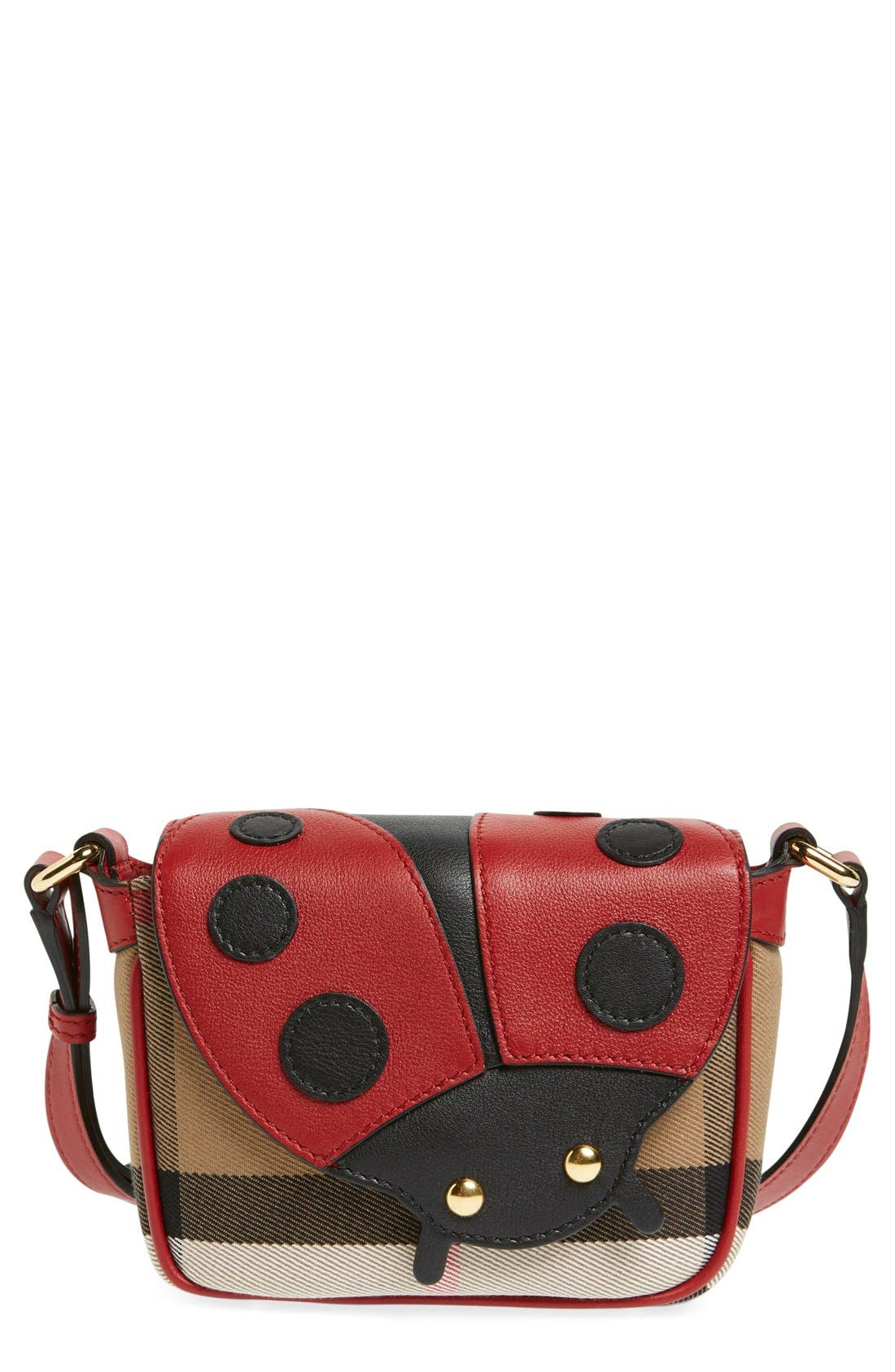 Main Image - Burberry 'Ladybird' Cotton & Leather Crossbody Bag (Girls)