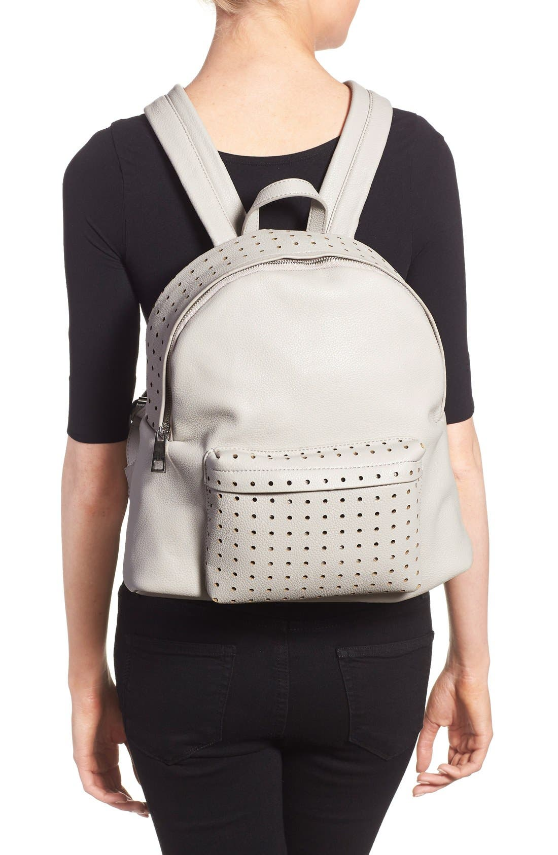 Alternate Image 2  - Street Level Perforated Faux Leather Backpack