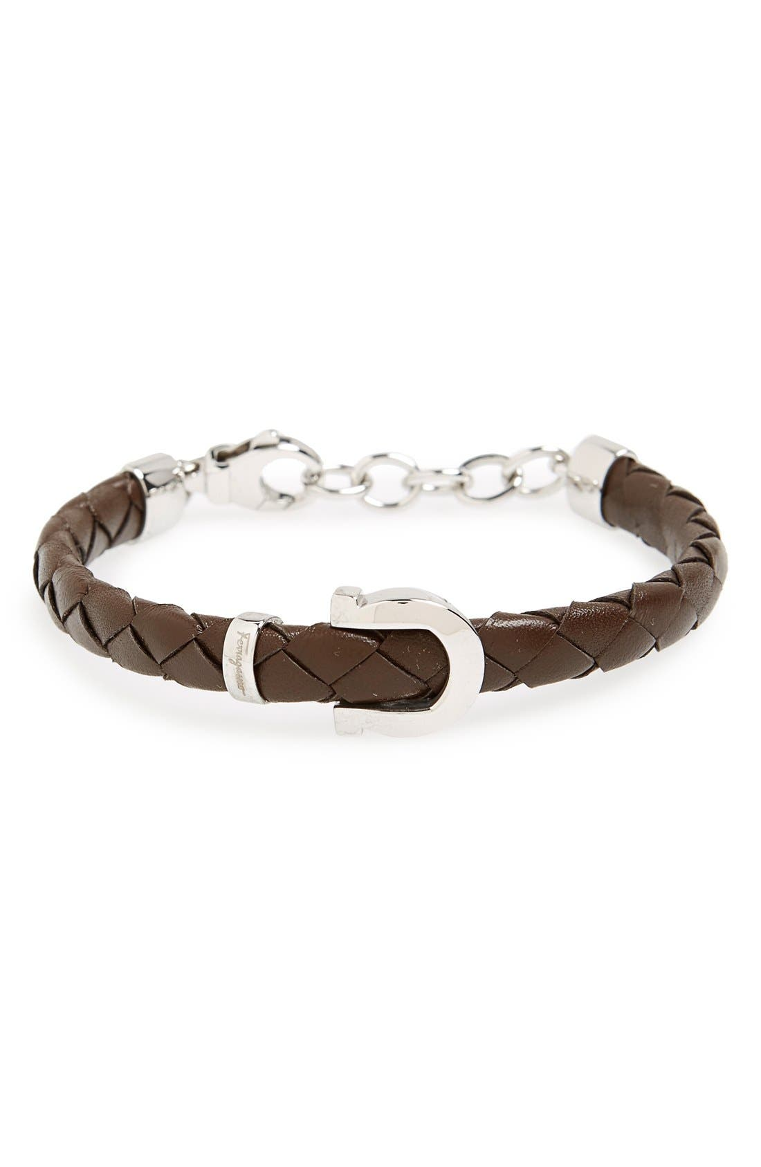 Alternate Image 1 Selected - Salvatore Ferragamo Gancio Braided Leather Bracelet