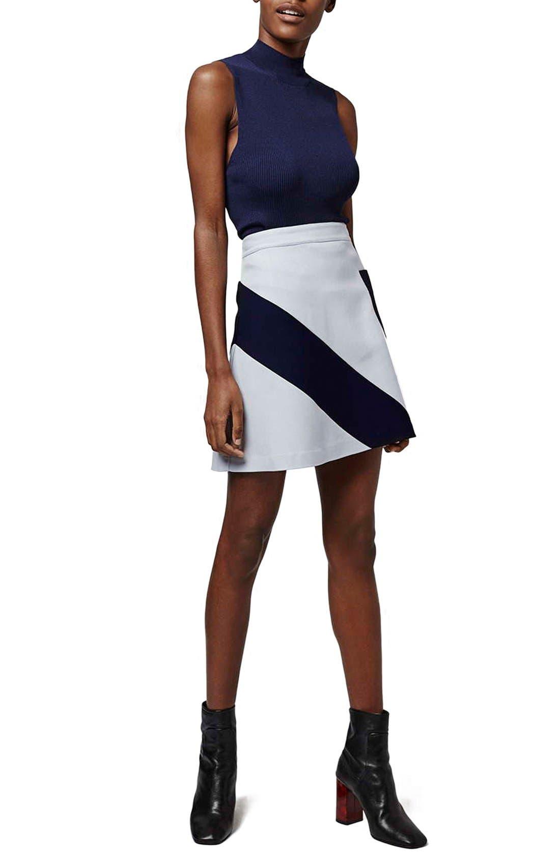 Alternate Image 2  - Topshop 'Mega' Panel Crepe A-Line Miniskirt