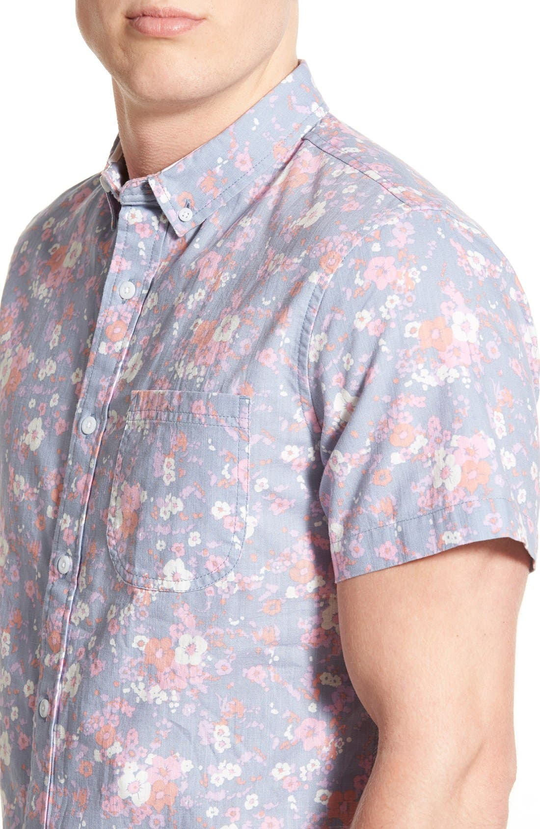 Alternate Image 4  - 1901 'Gifford' Trim Fit Short Sleeve Floral Print Chambray Shirt