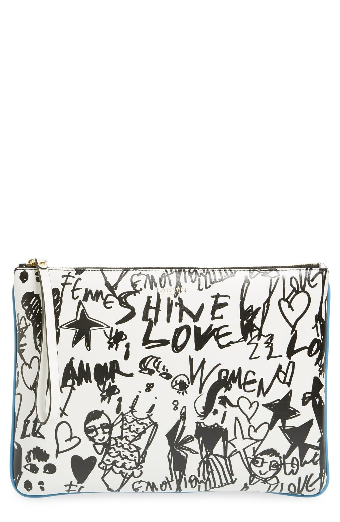 Alternate Image 1 Selected - Lanvin 'Medium' Print Calfskin Clutch