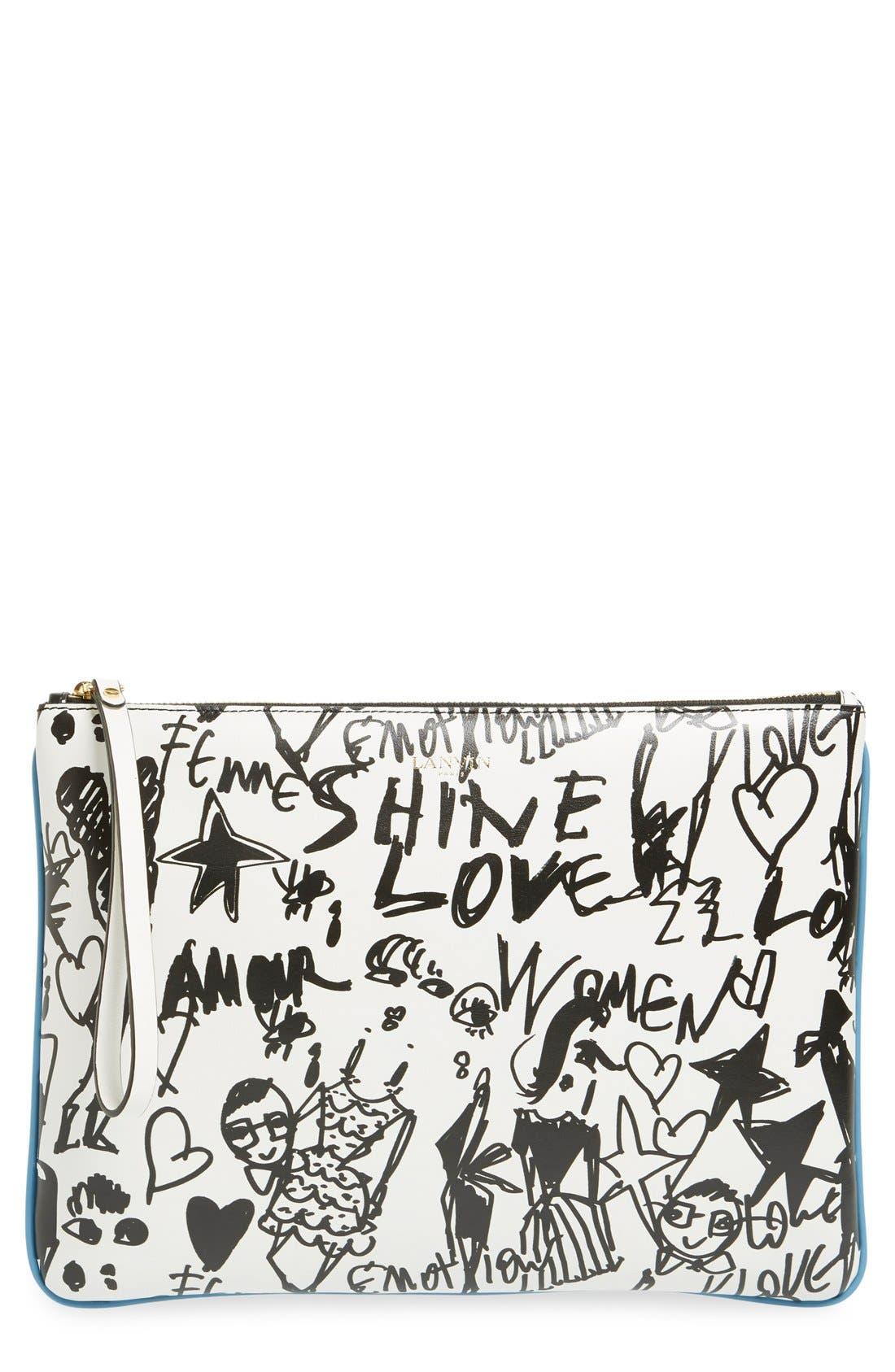 Main Image - Lanvin 'Medium' Print Calfskin Clutch