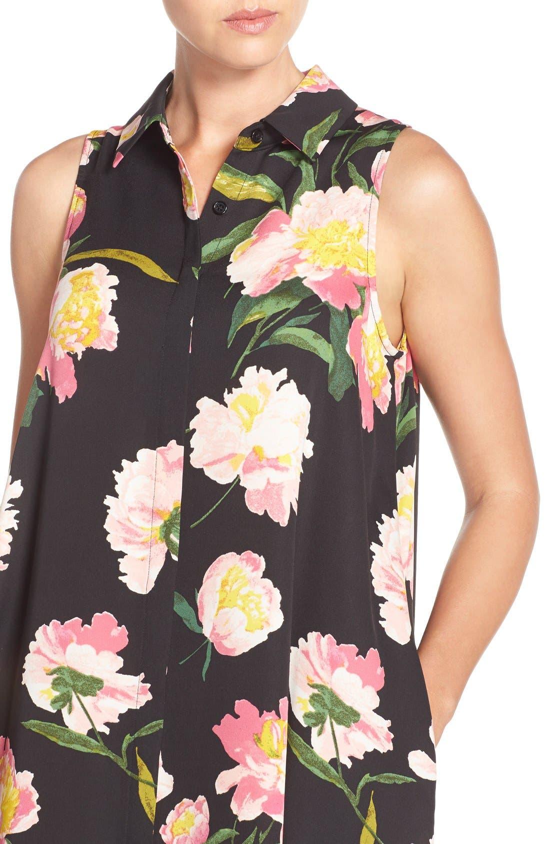Alternate Image 5  - Adrianna Papell Floral Crêpe de Chine Shirtdress